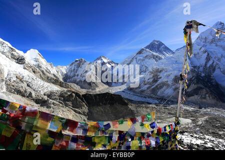 Vetta del Monte Everest 8848M, campo base Everest trek, Parco Nazionale di Sagarmatha, Sito Patrimonio Mondiale Foto Stock