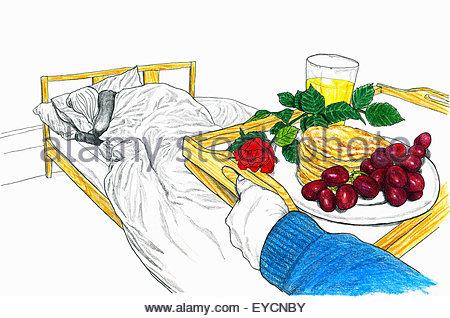 L'uomo portare il vassoio con la colazione a letto per la donna addormentata Foto Stock