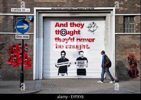 Arte di strada in Shoreditch, East London, London, Regno Unito Foto Stock
