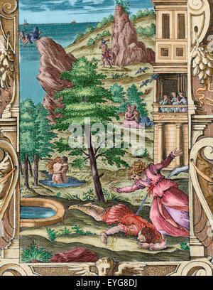 Ovidio (Publio ovidius naso) (43 BC-17 ad). poeta latino. metamorfosi 2-8 ad. libro iv. incisione raffigurante la morte di pyramus e Tisbe. Edizione italiana. Venezia, 1584. colorato. Foto Stock