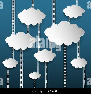 Abstract Internet Marketing sfondo con nuvole e scale Foto Stock