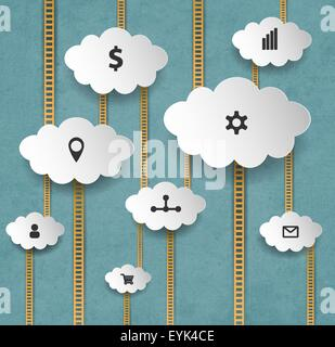Abstract Internet Marketing sfondo con nuvole e scale Foto Stock