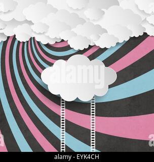Vintage sfondo con nuvole e scale Foto Stock