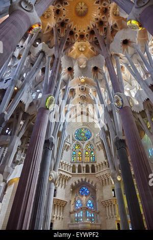 La Sagrada Familia, il Sito Patrimonio Mondiale dell'UNESCO, Barcellona, in Catalogna, Spagna, Europa Foto Stock