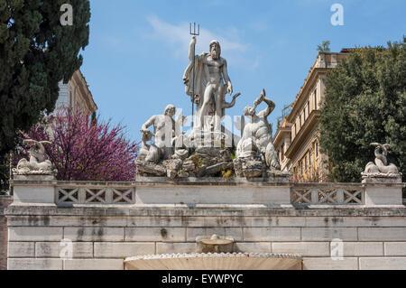 Fontana di Nettuno in Piazza del Popolo, Roma, Lazio, l'Italia, Europa