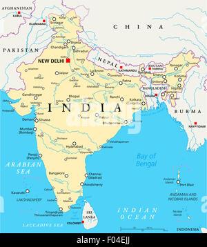 India Politica Cartina.India Mappa Politico Foto Stock Alamy