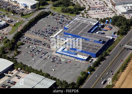 Vista aerea del negozio Ikea a Westbook Warrington Cheshire, Regno Unito Foto Stock