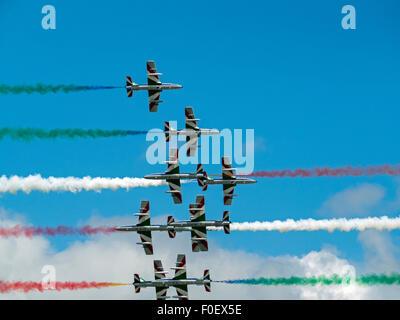Le Frecce Tricolori Italian Aerobatic Team Display Foto Stock
