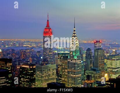 Midtown, Empire State Building e Chrysler Building, Vista notte, outlook, crepuscolo, Foto Stock