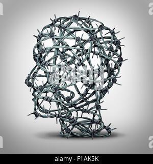 Torturato il pensiero e il concetto di depressione come un gruppo di barbwire aggrovigliati o filo spinato a forma Foto Stock