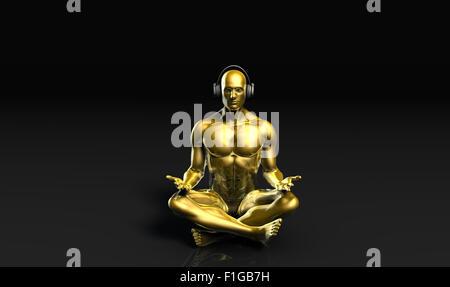 Uomo con le cuffie per ascoltare musica meditando in 3D Foto Stock