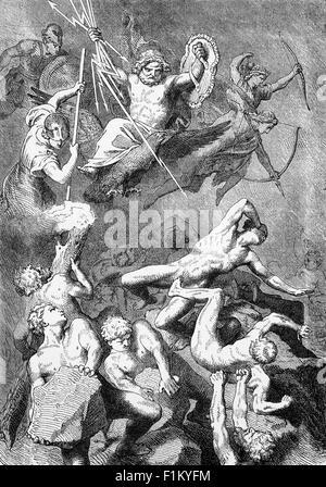 La mitologia greca, il combattimento tra la Divinità e i titani. Foto Stock