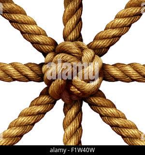Gruppo collegato la concezione di business e simbolo di unità come una collezione di corde spesse insieme venendo legato con un nodo al centro come un simbolo per la forza della rete e il supporto di unità isolate su uno sfondo bianco.