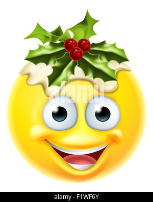 Un pudding natalizio festosa emoticon carattere emoji Foto Stock