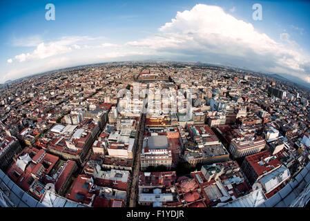 Vista di Città del Messico dal 44° piano della Torre Latinoamericana edificio. Foto Stock