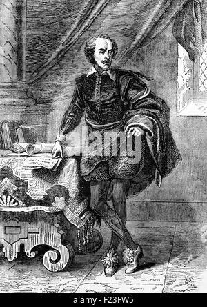 William Shakespeare ( 1564 - 1616), nato a Straford upon Avon Warwickshire. Egli è stato un poeta inglese e drammaturgo, e a volte tra il 1585 e il 1592, ha iniziato una carriera di successo a Londra come un attore, scrittore e parte-proprietario di una riproduzione di società che si chiama il Signore il ciambellano di uomini, più tardi conosciuto come gli uomini del re. Ciao ora è ampiamente considerato come il più grande scrittore in lingua inglese e il mondo della pre-eminente drammaturgo. Foto Stock