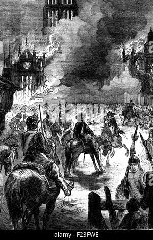 Il Grande Incendio di Londra, un grande conflagrazione che spazzato attraverso le parti centrali della città inglese Foto Stock