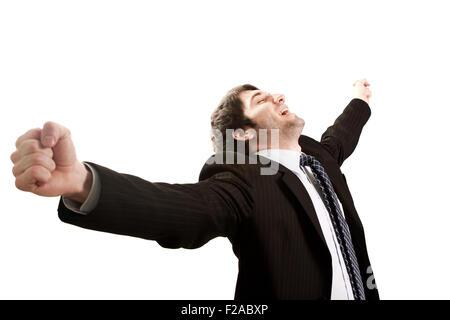 Happy businessman esprimendo il successo e il concetto di vittoria Foto Stock