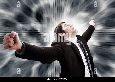 Vincere e concetto di successo nel business - imprenditore vittoriosa Foto Stock