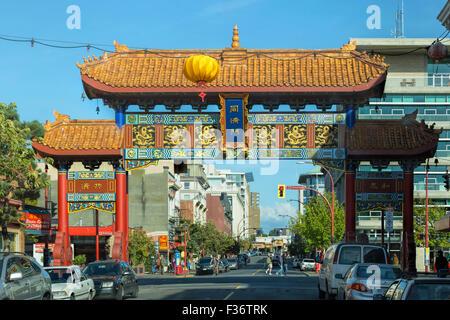 Vista su Porta Bella di interesse armonioso a Chinatown, in Victoria, Isola di Vancouver, British Columbia, Canada. Foto Stock