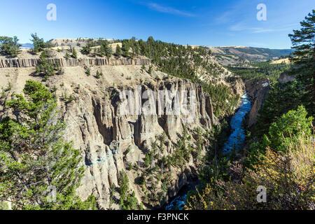 Calcite molle; Yellowstone River; il Grand Canyon di Yellowstone, il Parco Nazionale di Yellowstone, Wyoming USA Foto Stock