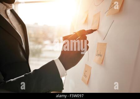 Ritagliato shot di imprenditore di mettere le sue idee sulla lavagna bianca durante una presentazione in sala conferenze. Foto Stock
