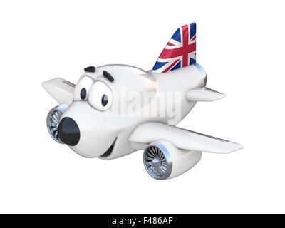 Cartoon aereo con una faccia sorridente bandiera degli emirati
