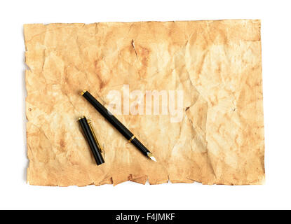 Penna a inchiostro e carta invecchiata pergamena Foto Stock
