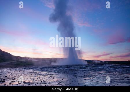 Strokkur geyser errupting al tramonto, Geysir, Sudhurland, Islanda.