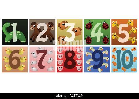 Una illustrazione vettoriale di una serie di numeri con simpatici animali Foto Stock