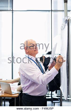 Imprenditore iscritto su whiteboard Foto Stock