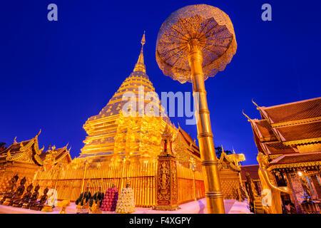 Wat Phra That Doi Suthep Temple di Chiang Mai, Thailandia. Foto Stock