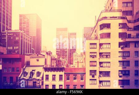 Vintage immagine stilizzata di Manhattan, New York City, Stati Uniti d'America. Foto Stock
