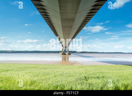 La sospensione Humber Bridge, Hull, Regno Unito. Foto Stock