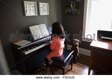 Cane in attesa per la ragazza suonare il pianoforte Foto Stock