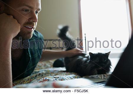 L'uomo petting cat e utilizzando computer portatile sul letto Foto Stock