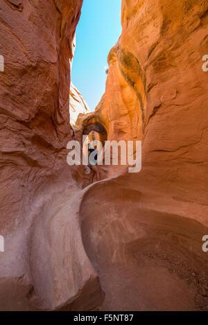Una donna si ammira la calda luce in Gulch pieghevole in Escalante canyon di grande scala Escalante National Monument, Foto Stock