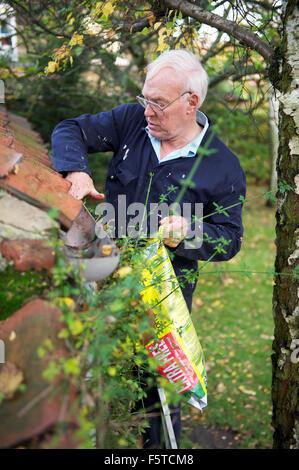 Anziano gentiluomo la pulizia di una grondaia di pioggia di foglie in North Yorkshire