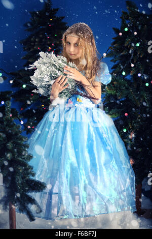 Giovane principessa in un abito nel bosco in inverno sera Foto Stock