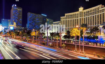 Vista sulla Strip di Las Vegas di Notte Foto Stock