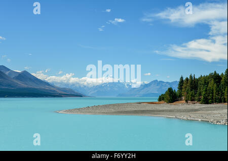 Lago Pukaki e Mount Cook, isola del Sud, Nuova Zelanda Foto Stock