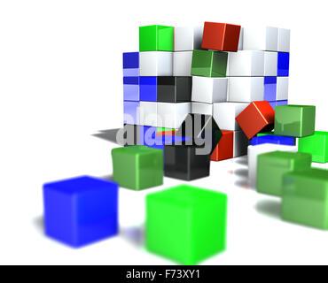 Immagine 3d del concetto di cubo Foto Stock