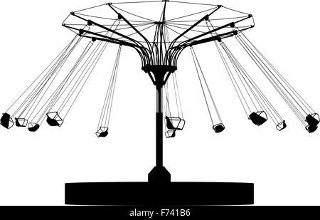 Silhouette atraktsion colorata ruota panoramica Ferris. Illustrazione Vettoriale Foto Stock