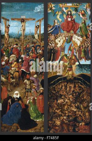 Jan Van Eyck - La crocifissione; l'ultima sentenza Foto Stock