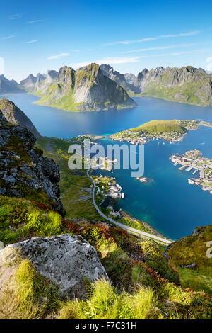 Isole Lofoten Reine, Moskenes, Norvegia Foto Stock