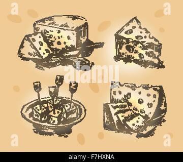 Mano bozzetto set formaggio. illustrazione vettoriale Foto Stock