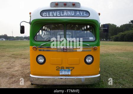 Ripristinato il bus Rosa Parks sat nel Dicembre 1, 1955 da Montgomery in Alabama su Cleveland Avenue, è visto a Foto Stock