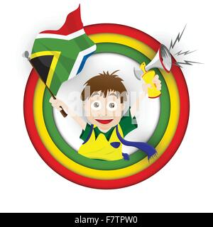 Sud Africa tifoso di calcio bandiera Cartoon Foto Stock