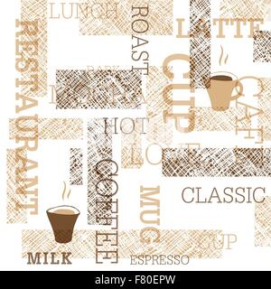 Il caffè a tema Pattern senza giunture Foto Stock