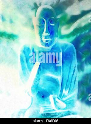 Silhouette di Buddha nella posizione del loto contro colorato sfondo grunge